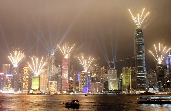 HONG KONG-HARBOUR-LASERS-FIREWORKS