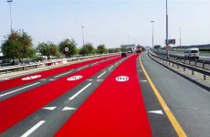 Dubai's RTA paints roads red to indicate speed limit change
