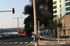 Traffic delays after bus catches fire in Dubai Marina