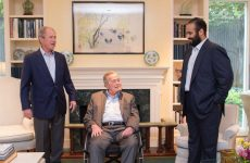 Saudi crown prince meets former US presidents, signs off on Aramco, Sabic projects