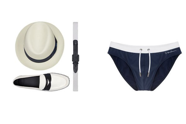 Classic Fedora Hat (Dhs1,850), belt Ribbon and Caiman, Espadrilla Canvas and Caiman (Dhs2,550), Beachwear brief (Dhs600); all by Giorgio Armani