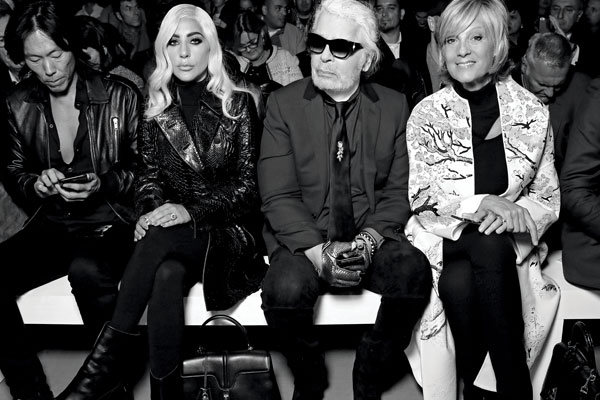 Stephen Gan, Lady Gaga, Karl Lagerfeld and Helene Arnault