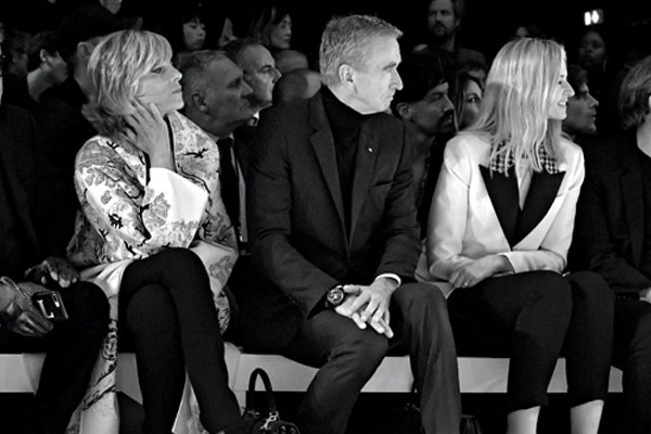 Helene Arnault, Bernard Arnault and Delphine Arnault at the Celine SS19 show