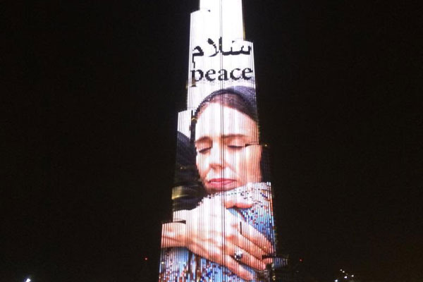 Dubai projects New Zealand PM Jacinda Ardern image on Burj Khalifa