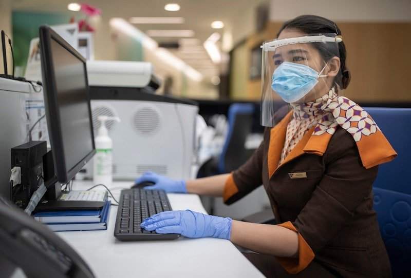 Etihad Airways 3D printed face shields PPE