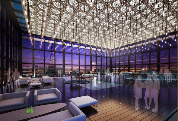Two VIP penthouses worth $250 million each are among the VIP features – with garden terraces, pool and jacuzzi over four floors – and offer 360–degree views of Dubai.