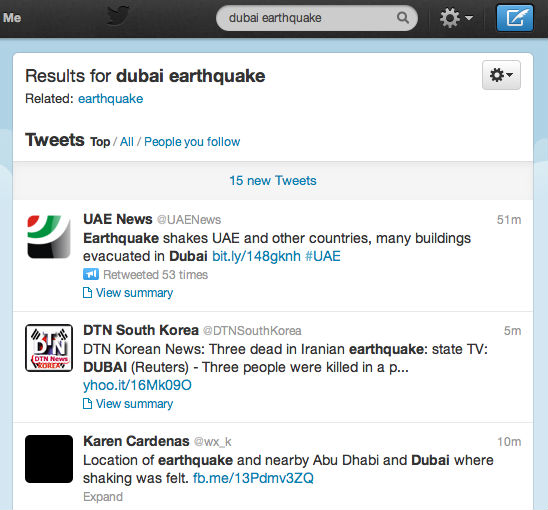 Twitter In GCC, Dubai Earthquake Frenzy