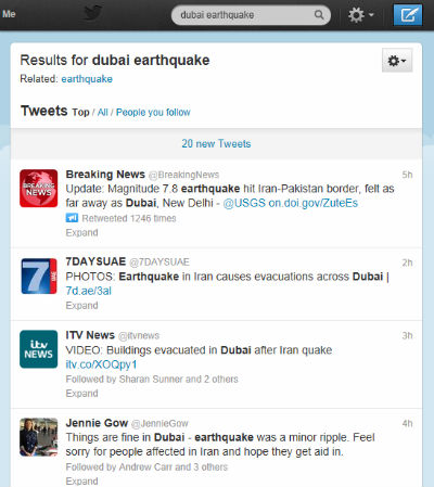Twitter Users In Dubai Earthquake Frenzy